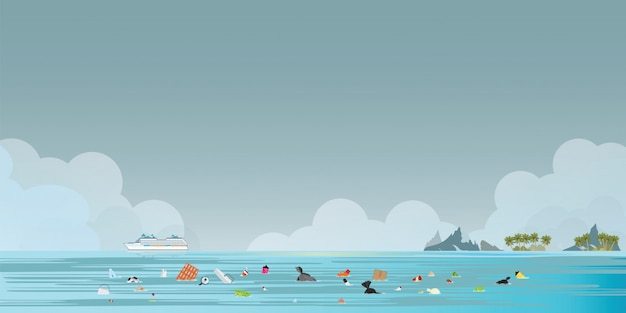 Cruise liner passenger ship with garbage floating in the sea Premium Vector