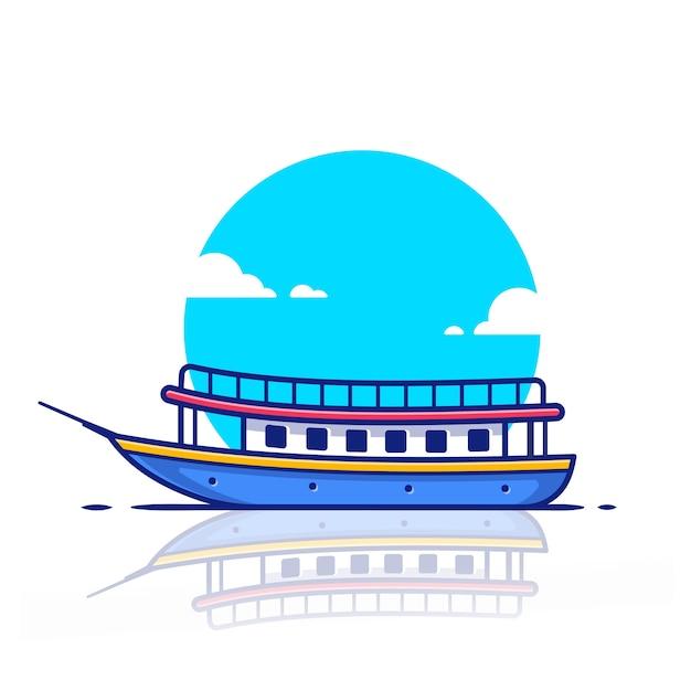 Круизный пассажирский корабль лодка значок иллюстрации. концепция водного транспорта значок. Premium векторы