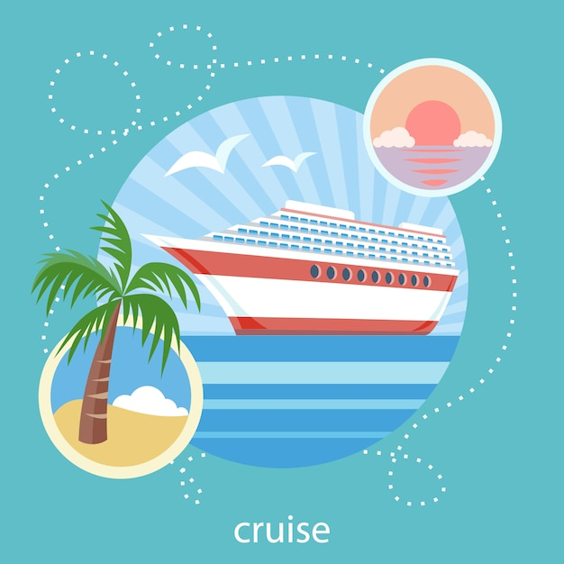 Cruise ship in clear blue water near island with palm tree. water tourism. icons of traveling, planning a summer vacation, tourism and journey objects Premium Vector