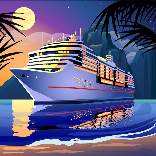 Cruise ship under the moonlight on a tropical lagoon Premium Vector