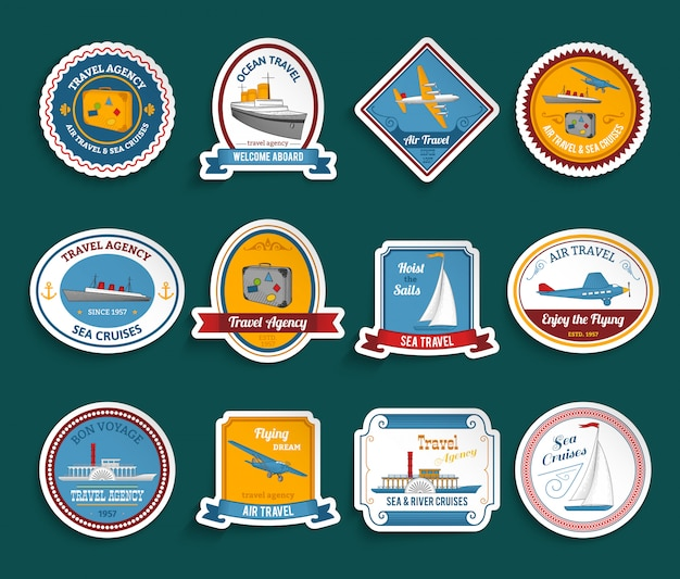Cruise travel agency stickers set Free Vector