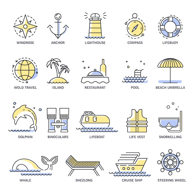 Cruise travel or summer vacation line icons Premium Vector