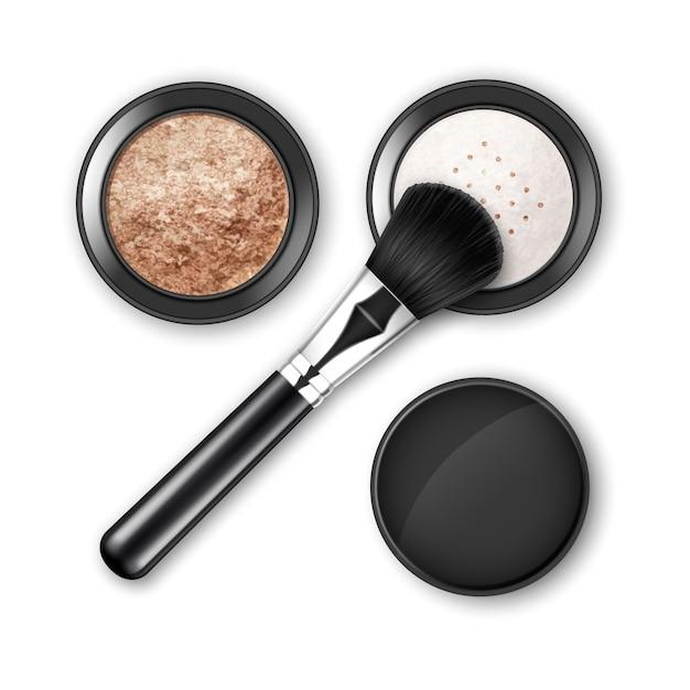 砕いた顔の化粧品は、黒い丸いプラスチックケースのパウダーブラッシャーを作ります Premiumベクター