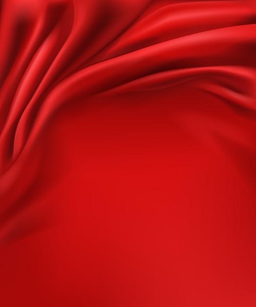 구겨진 물결 모양의 고급스러운 빨간색 실크 또는 새틴 패브릭 배경 무료 벡터
