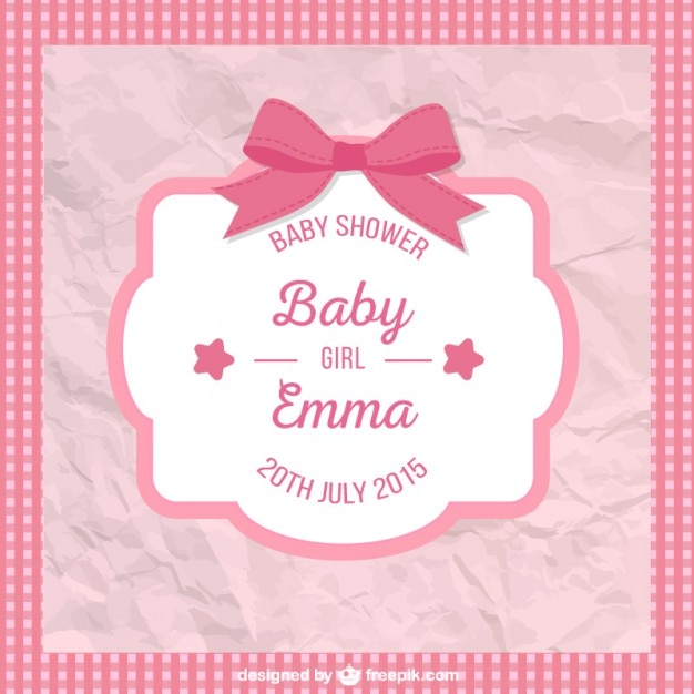 Crumpled baby shower card for girl Free Vector