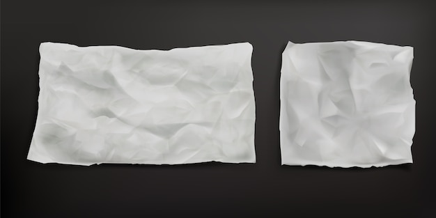 Crumpled baking paper sheets isolated. vector realistic  of blank old paper with wrinkled texture, creases and torn edges. greaseproof parchment leaf Free Vector