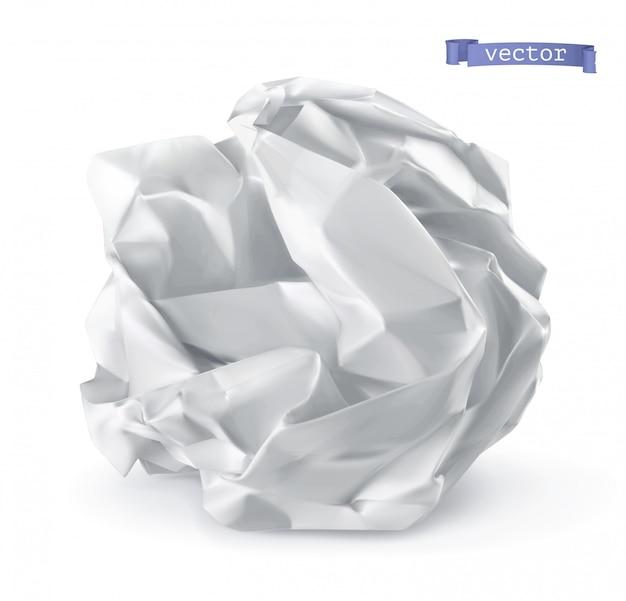Crumpled paper ball Premium Vector