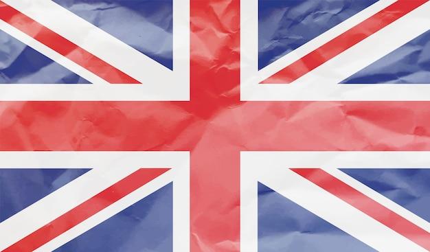 しわくちゃの紙のイギリスの旗 Premiumベクター