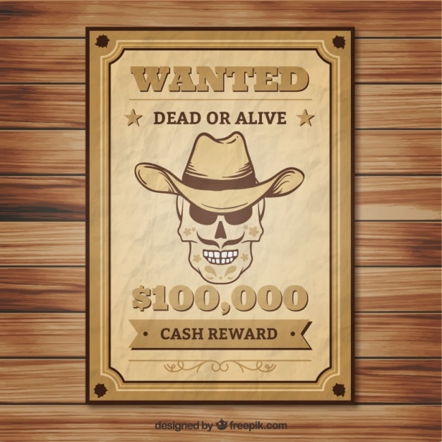 Crumpled wanted poster of skull with hat Vector Free Download