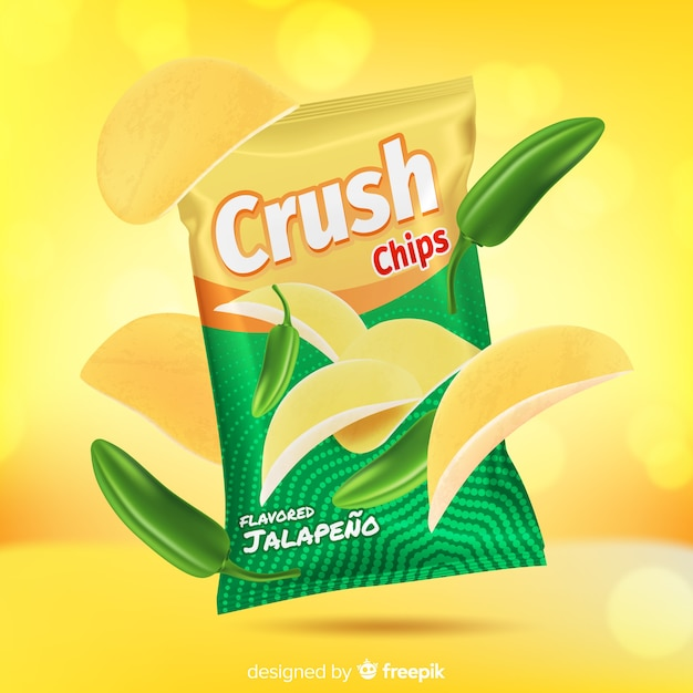 Crush chips on abstract background Free Vector