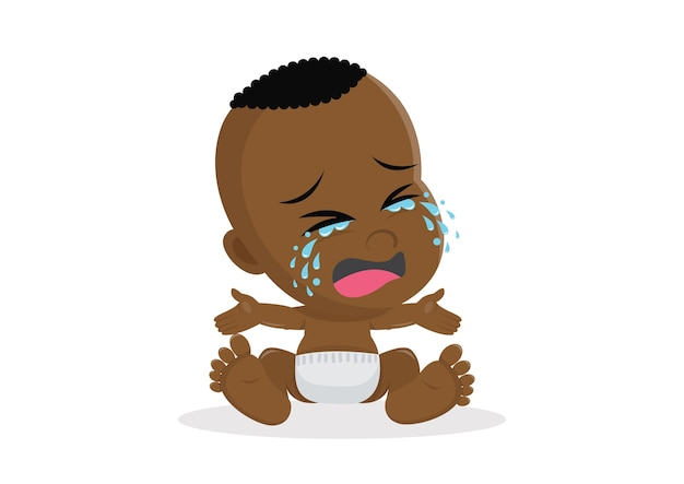 Crying african baby boy. Premium Vector