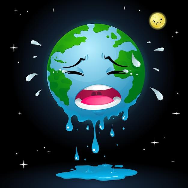 Crying earth Premium Vector