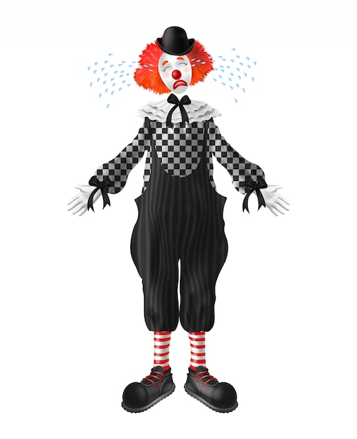Crying red-hair clown with tears squirting from eyes Free Vector