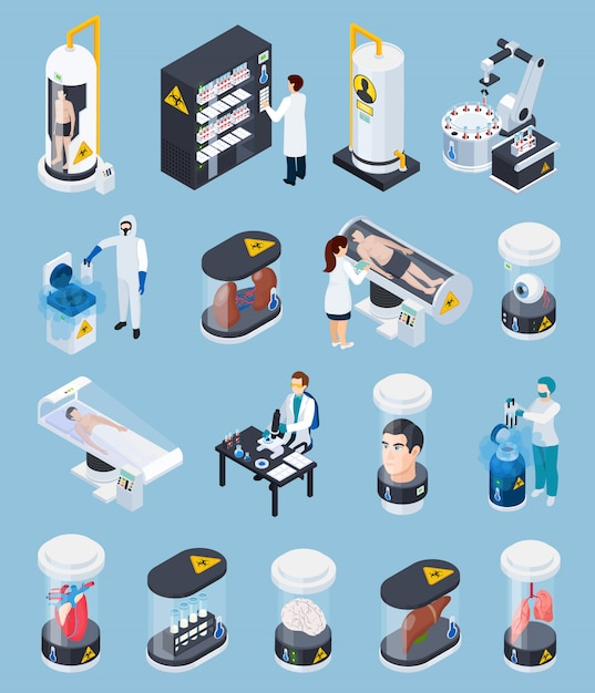 Cryogenics isometric isolated collection Free Vector