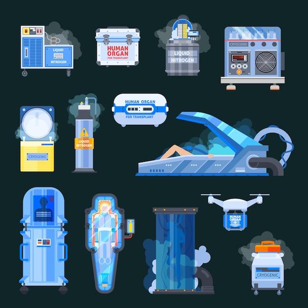 Cryonics human organs transplantation elements Free Vector