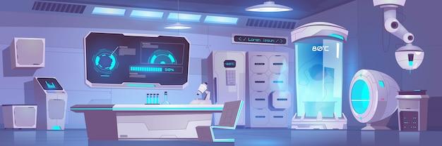 Пустой интерьер лаборатории крионики с оборудованием и техникой Бесплатные векторы