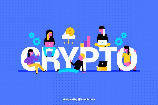Crypto background with colorful elements and people Free Vector