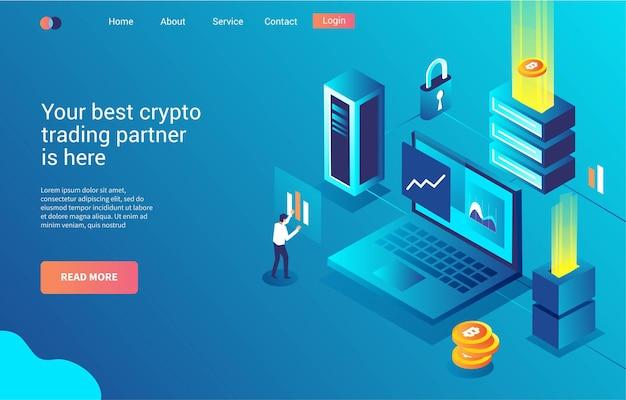Аналитическая торговля криптовалютами, целевая страница или веб-шаблон Premium векторы