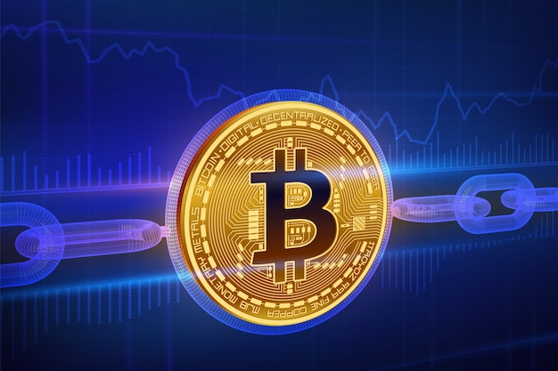 Crypto currency. block chain. bitcoin. 3d isometric physical golden bitcoin with wireframe chain. blockchain concept. Premium Vector