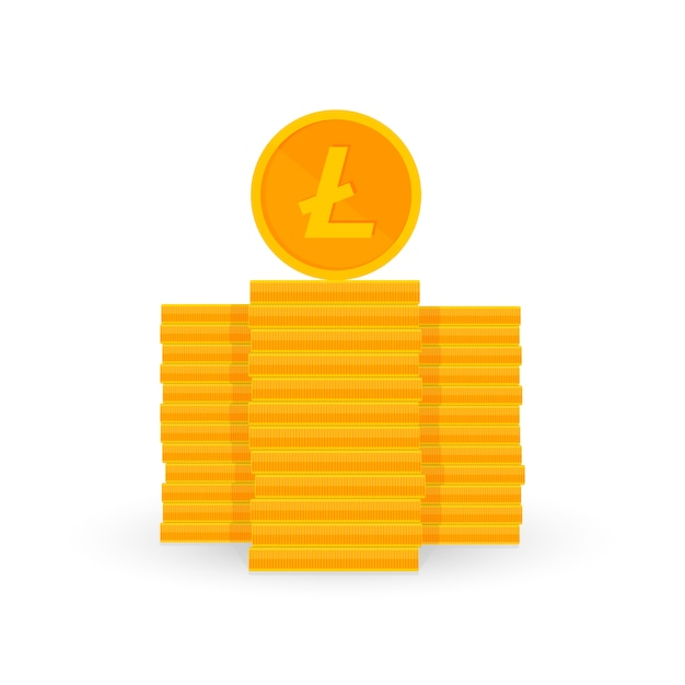 Crypto currency is a penny of golden color on white Premium Vector