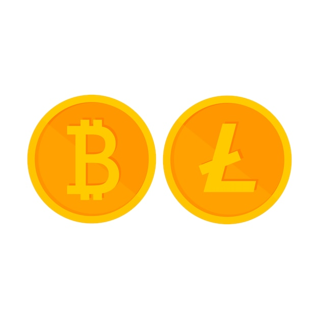Crypto currency is a penny of golden on white Premium Vector