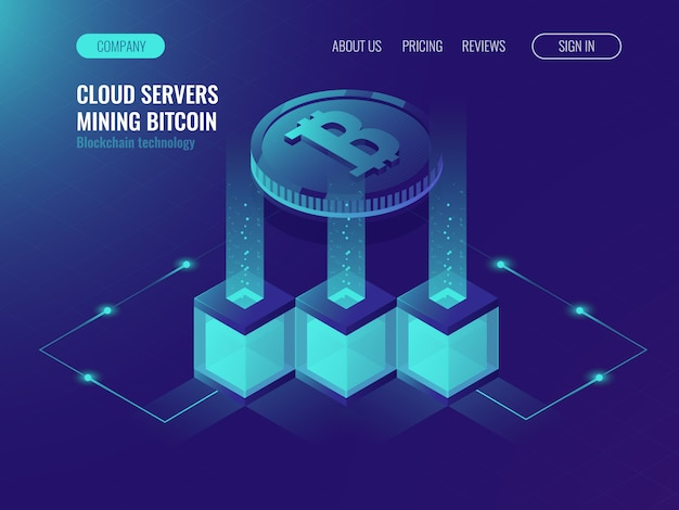 Crypto currency mining comcept, block chain technolofy, token system networking Free Vector