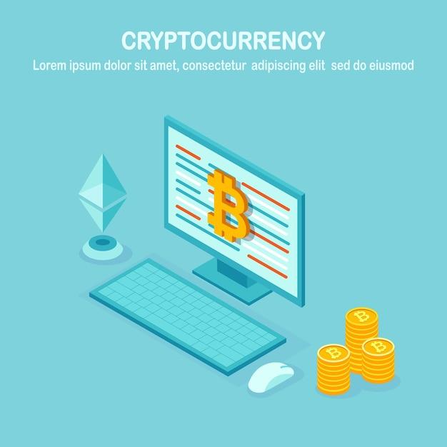 Криптовалюта и блокчейн. майнинг биткойнов. цифровые платежи виртуальными деньгами, финансы Premium векторы