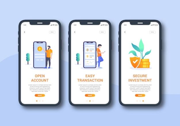 Cryptocurrency app set of onboarding screen mobile ui Premium Vector