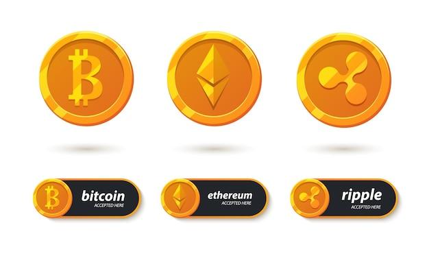 Банковские платежные символы криптовалюты. здесь принимаются биткойны, эфириум, рябь. электронная криптосистема - набор иконок. кнопка для дизайна вашего приложения и веб-сайтов. Premium векторы