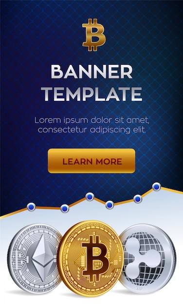 Шаблон баннера криптовалюты. биткойн, эфириум, пульсация золотых монет. Бесплатные векторы