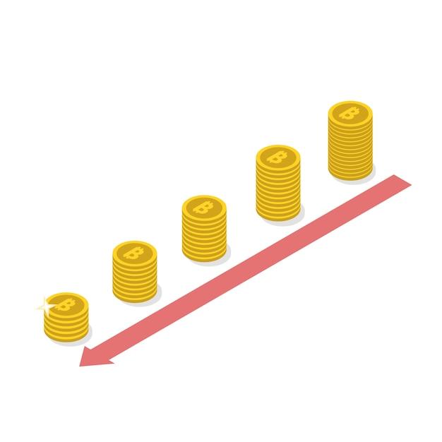 Cryptocurrency bitcoin decline concept. Premium Vector
