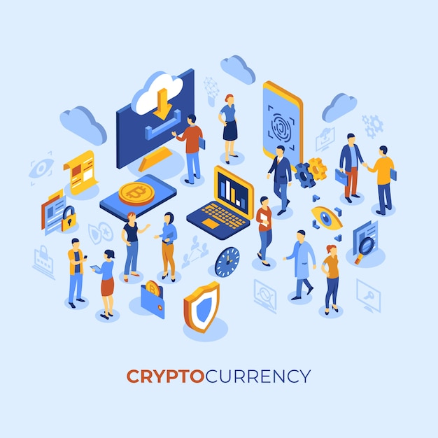 Cryptocurrency bitcoin technology characters infographics Premium Vector