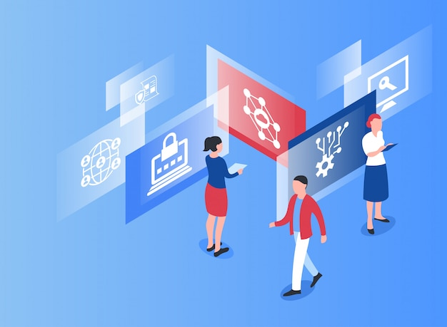 Cryptocurrency bitcoin technology isometric icons Premium Vector