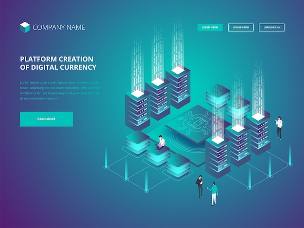 Cryptocurrency and blockchain  banner landing page Premium Vector