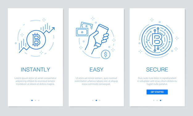 Cryptocurrency and blockchain concept onboarding. modern walkthrough template for mobile a Premium Vector