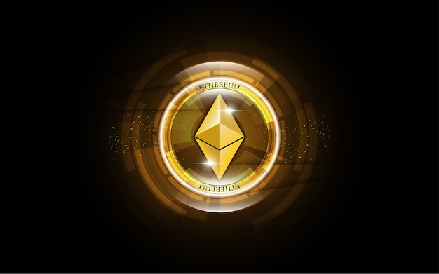 Cryptocurrency blockchain ethereum digital money Premium Vector