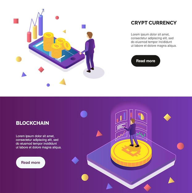 Cryptocurrency and blockchain horizontal isometric banners set with people do mining 3d isolated vector illustration Free Vector