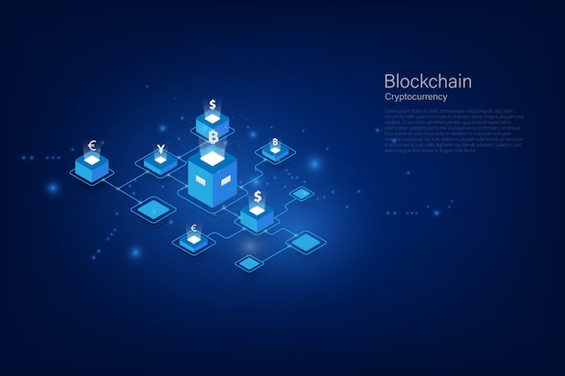 Cryptocurrency and blockchain isometric money transfer. global currency. stock exchange. stock vector illustration. Premium Vector