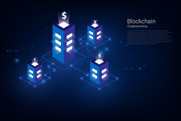 Cryptocurrency and blockchain isometric money transfer  global