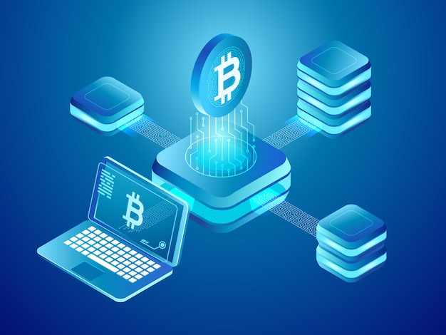 Cryptocurrency coins mining, secure distributed network of connected mine blocks Premium Vector