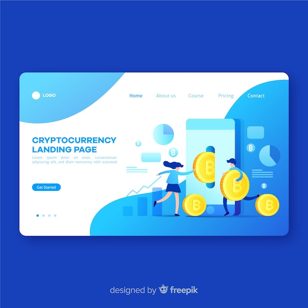 Cryptocurrency concept landing page template Free Vector