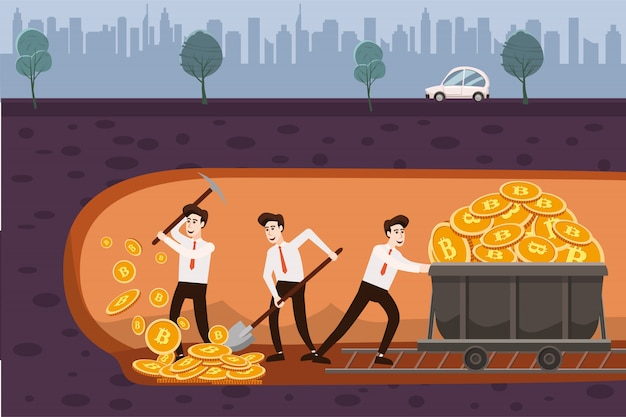 Cryptocurrency concept with businessmans miners and coins with jackhammer Premium Vector