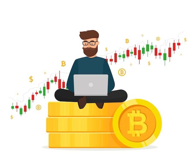 Концепция криптовалюты. молодой человек, сидящий на золотой монете стеков с ноутбуком и торговой диаграммой графа. Premium векторы