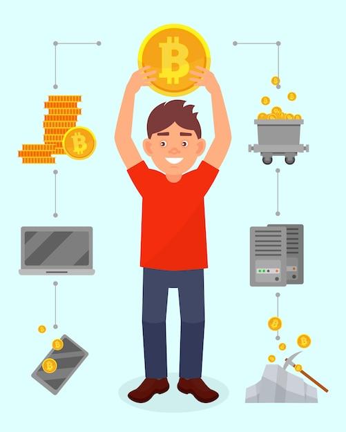 彼の頭、cryptocurrencyマイニングテクノロジー、cryptocurrencyマイニングテクノロジーの図の上に大きなビットコインを保持している若い男の笑顔 Premiumベクター