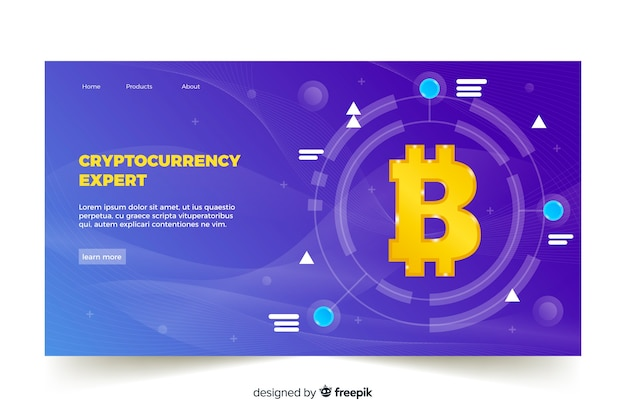 Cryptocurrency exchange landing page template Free Vector