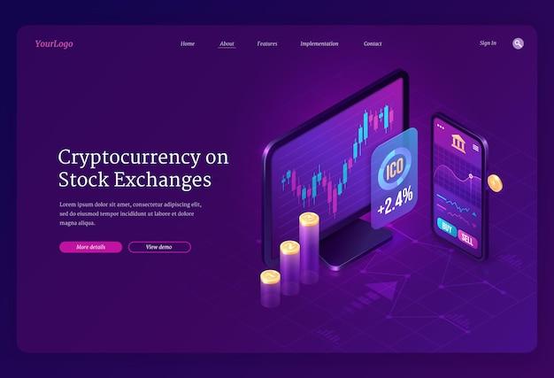 Изометрическая целевая страница биржи криптовалют. майнинг цифровых денег, экран компьютера и смартфона с торговым графиком Бесплатные векторы