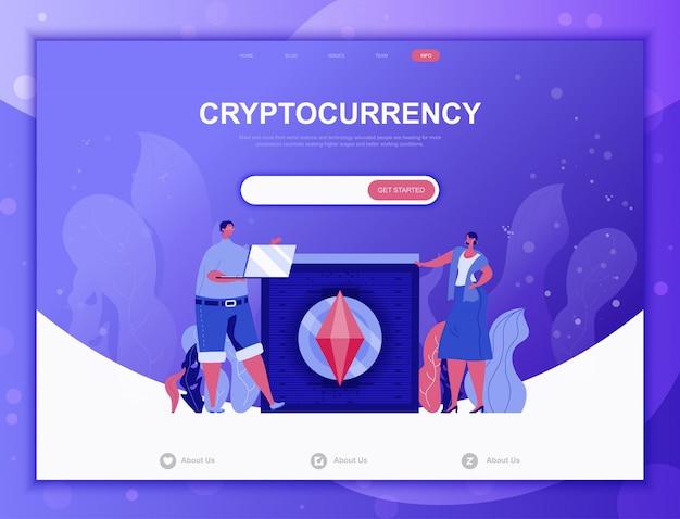 Cryptocurrency exchangeフラットコンセプト、ランディングページwebテンプレート Premiumベクター