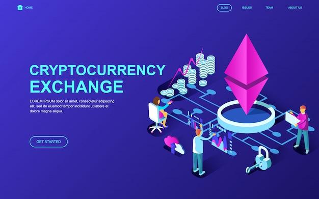Cryptocurrency exchangeの現代フラットデザイン等尺性概念 Premiumベクター