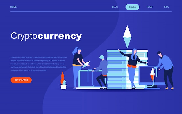 Cryptocurrency exchangeのモダンなフラットデザインのコンセプト Premiumベクター