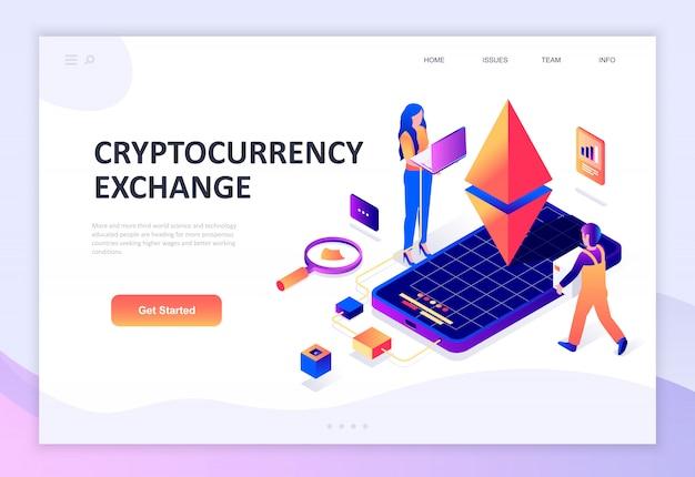 Cryptocurrency exchangeのモダンなフラットデザイン等尺性概念 Premiumベクター
